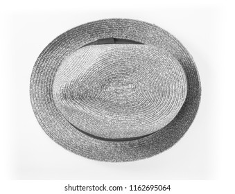 Gray striped hat isolated on white background, top view