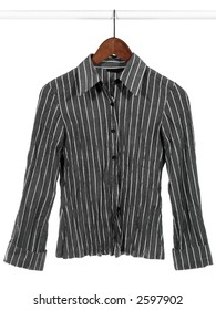 Gray striped shirt on white background