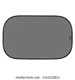 Gray sun protection collapsible screen for car windows isolated on white