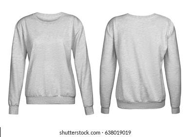 Gray sweater, mockup,, on white background