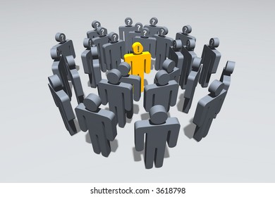 gray symbolic figures standing in circles around a golden one expressing knowledge