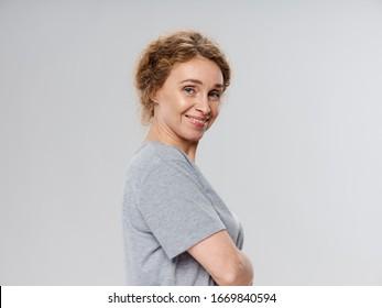 Gray tank top happy woman cropped view