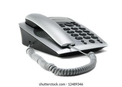 gray telephone isolated on white