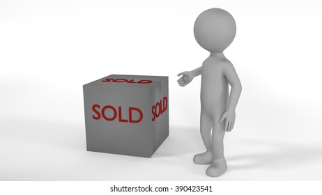 Gray textured character pointing with hand at cube with text SOLD OUT. Lights and shadows. White background. Illustration men model