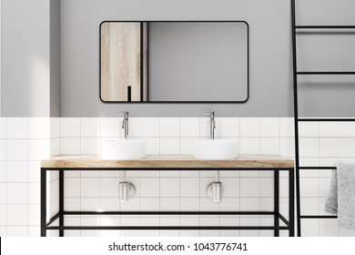 Gray and tiled bathroom interior idea. A double sink with a rectangular mirror. A ladder. A close up 3d rendering mock up