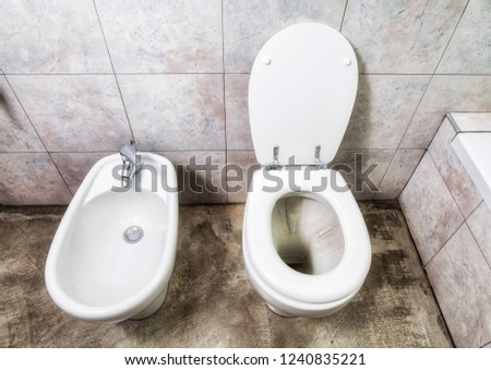 Gray Toilette Bidet View Above Stock Photo Edit Now 1240835221
