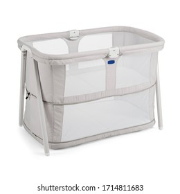 Gray Travel Cot Isolated on White. Extra Bed for Newborns & Babies. Modern Playpen with Soft Mattress Front Side View. Nursery & Baby Furniture Sets. Baby Hug. Portable Co-Sleeping Cribs & Cradles