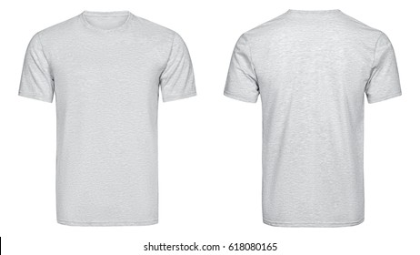 Gray t-shirt, clothes on isolated white background.