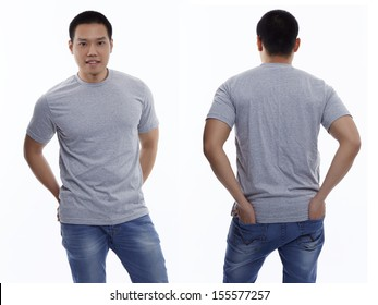 Gray t-shirt on a young man isolated front and back-Studio Shot