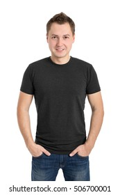 Gray t-shirt on a young man, isolated on white background