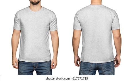 Gray t-shirt on a young man isolated white background, front and back.