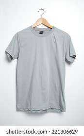 Gray tshirt template on hanger ready for your own graphics.