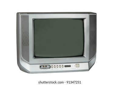 Gray TV isolated on white background