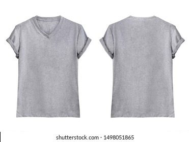 Gray V-Neck T-shirts front and back on white background