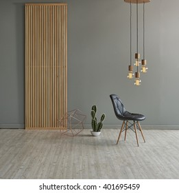 gray wall in front of modern wooden separator modern pendant lamp textured wood laminate flooring and cactus with leather chair concept