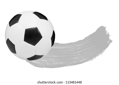 Gray watercolour Blush and one soccer ball isolated on white background