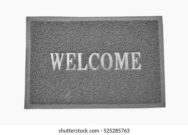 gray welcome carpet on white background