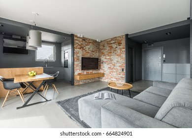 Gray and white apartment in industrial style with open living room and cooking area