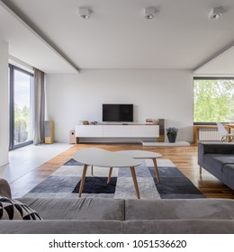 Gray and white, family living room with tv and coffee table