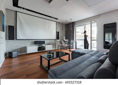Gray and white living room with sofa, table, balcony and projector screen