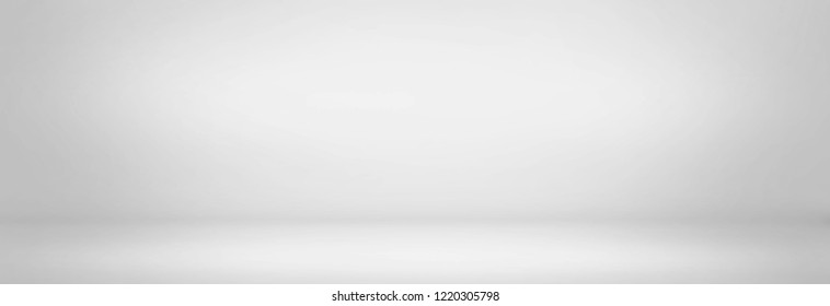 gray and white studio room background, blank and empty wall banner