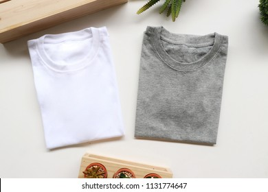 gray and white t-shirt with rustic style on white background