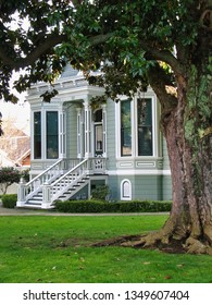 A gray and white Victorian house in the west with a large tree in the foreground on a spring day, with nostalgic overtones and view of the front porch.