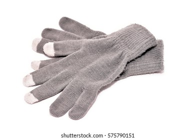 Gray winter gloves isolated on white