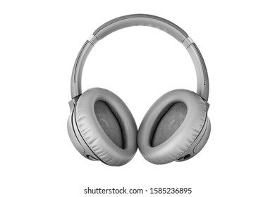 Gray wireless headphones on white background isolated close up, grey headset with big leather ear pad cushions design, modern black wi-fi stereo sound earphones side view, audio music device