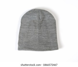 gray woll beanie, winter beanie hat. beanie hat isolate white background. Blank Beanie Hat Mockup with Free Space for Your Design on a white background. Head cover suitable for winter.
