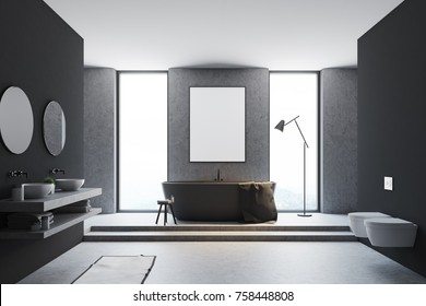 Gray and wooden bathroom interior with a concrete floor, a bathtub, a double sink with round mirrors and a framed poster on the wall. 3d rendering mock up