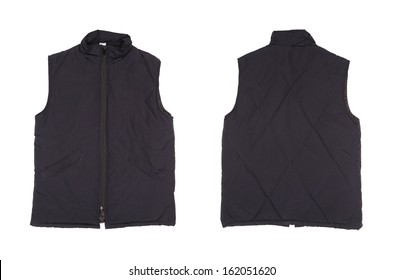 Gray working winter vest. Isolated on white background.