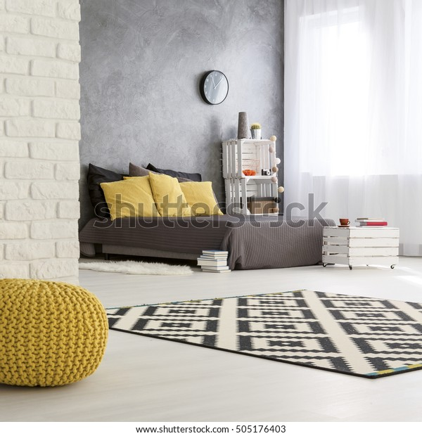Gray Yellow Bedroom Design Modern Interior Stock Photo (Edit ...