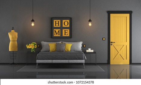 Gray and yellow master bedroom with double bed,closed door and mannequin - 33d rendering