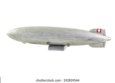 a gray zeppelin model isolated over a white background