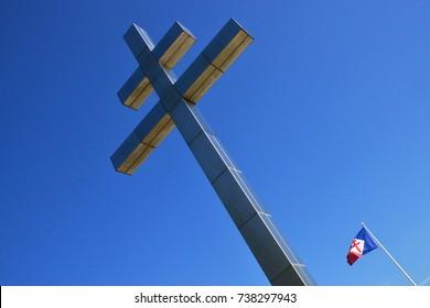 Graye sur Mer; France - july 18 2017 : Free French Lorraine cross