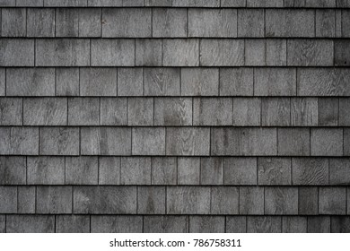 Grayed Weathered Shake Wall Close Up