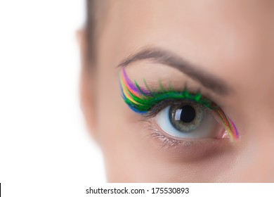 Gray-eyed girl with bright make-up, close-up