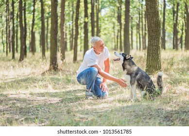 """a gray-haired bearded man is training his dog of the Husky breed in the park for a walk, the """"give a paw"""""""