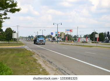 Grayling, Michigan, USA, August 15, 2018:  Truck  On the Grayling streets. View of the small town