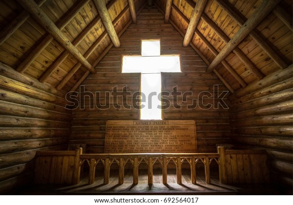 Grayling, Michigan, USA - July 20, 2017: The interior of the Chapel Of The Pines. The Chapel was funded by an anonymous donation and the small church is located in Hartwick Pines State Park.