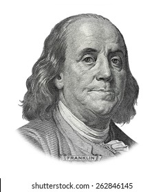 Grayscale Drawing of US President Benjamin Franklin