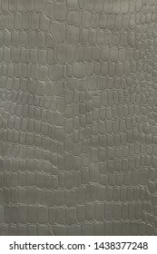 Gray-silver polyvinyl chloride film stamped like reptile skin. Texture. Macro