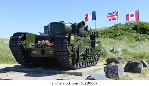 GRAY-SUR-MER, NORMANDY, FRANCE - CIRCA 2017. Churchill MK IV Avre Tank disabled during the DDay invasion, June 6, 1944. circa 2017