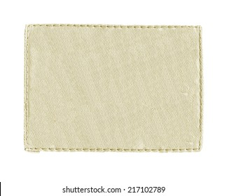 gray-yellow textile label on white background