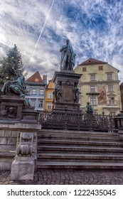GRAZ, AUSTRIA - 03.01.2018  Archduke Johann Fountain, allegorical representation of the river Sann, Hauptplatz square, Graz, Styria,
