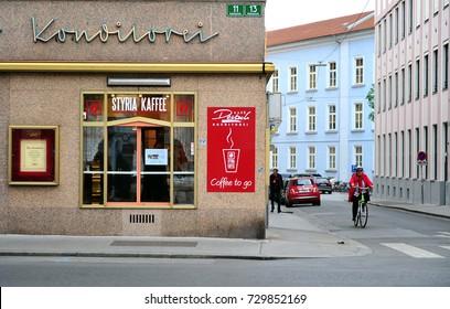 GRAZ, AUSTRIA - APRIL 14: View of the street corner in Graz, Austria on April 14, 2017.
