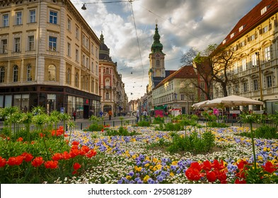 GRAZ, AUSTRIA - APRIL 26,2015: Herrengasse on April 26, 2015 in Graz. It is the most popular shopping street in Graz.