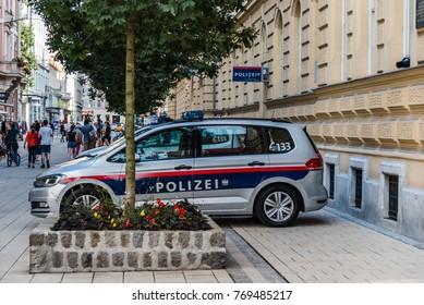 Graz, Austria - August 11, 2017: Police car parked in police station in center of Graz