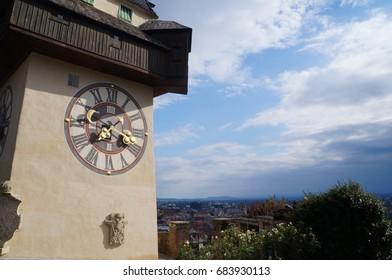 Graz, Austria- August 16, 2015: Historical clock tower in Graz on August 16, 2016.